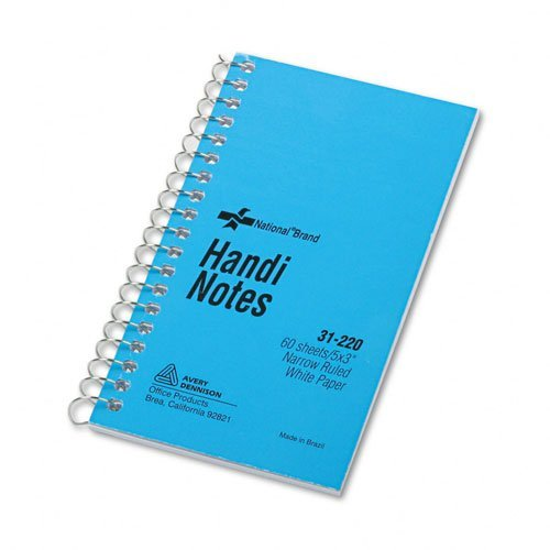 (National Brand Products - National Brand - Wirebound Memo Book, Narrow Rule, 3 x 5, White, 60 Sheets/Pad - Sold As 1 Each - Xtreme white paper, 97 brightness. - Single-wire binding. - First size given is binding edge.)