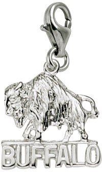Rembrandt Charms Buffalo Charm with Lobster Clasp, 14k White (14k Gold Buffalo Charm)