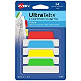 """Avery Margin Ultra Tabs, 2.5"""" x 1"""", 2-Side Writable, Assorted Colors, 24 Repositionable Page Tabs (74768)"""