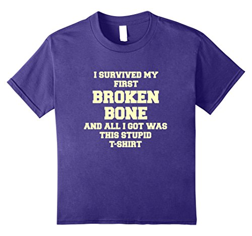 Price comparison product image unisex-child Get Well Broken Bone Arm or Leg - Recovery Gift Gag T-Shirt 12 Purple