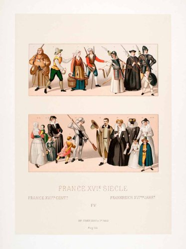 1888 Chromolithograph 16th Century Fashion Costume Child Holy League Paris Dress - Original Chromolithograph - Sixteenth Century Fashions