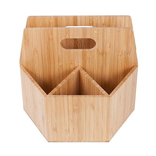 Bamboo Rotating Utensil Holder Portable Silverware Caddy, Condiment, Dining & Kitchen Organizer, Makeup Holder, Desktop, Classroom Supplies Organizer by MobileVision (Image #5)