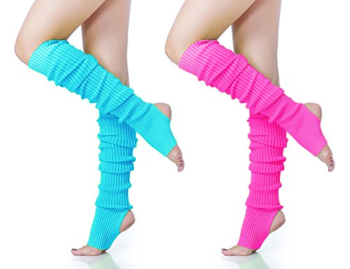 Long Leg Warmer, V28 Women's Men 80s Party Ribbed Knit Dance Sports, 71(lbu+ro)