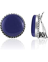 925 Sterling Silver Rimmed Round Reconstructed Gemstone or Resin Clip-on Earrings