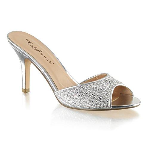 Fabulicious LUCY-01 Womens Pump Shoes Slv Glitter Mesh Fabric 4cgACz