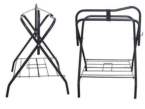 Two Floor Saddle Racks Stand Folding Storage Metal Black Saddle Tack Stable