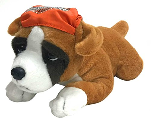 (Harley-Davidson Rumble 14 in. Boxer Cuddle Bud Dog, Brown & Orange)
