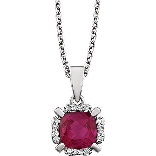 14 Karat White Gold July Birthstone Halo-Style Pendant Necklace with 1.4 ctw created Ruby and .05 ctw Natural Diamonds with 18 inch White Gold Cable Chain (Ctw Ruby Diamond Pendant)