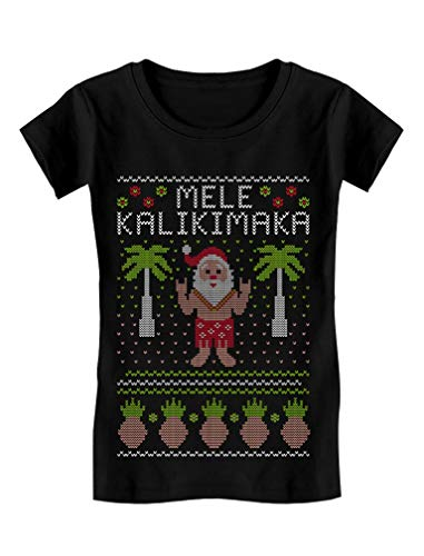 Mele Kalikimaka Hawaiian Santa Ugly Christmas Girls Fitted Kids T-Shirt