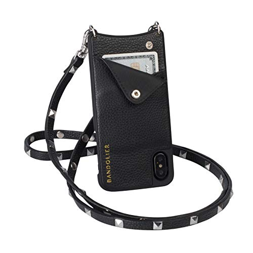 Bandolier Sarah Crossbody Phone Case and Wallet - Black Leather with Silver Detail - Compatible with iPhone Xs Max Only