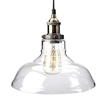 Pendant Light, ZHMA Industrial Style 1-Light Pendant Glass Hanging Light, E27 Bulbs Edison Modern Vintage Farmhouse Kitchen Lamp