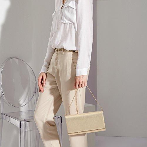 Evening Clutch Bag Solid Handbag Flap Gold Glitter WALLYN'S Metallic Womens Color Gold wtnqXWB8