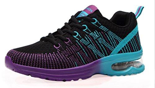NEWZCERS Femmes Sport Coussin D'Air Jogging Marche ¨¦quitation Chaussures de Course Chaussures de Sport Noir VLShsEf
