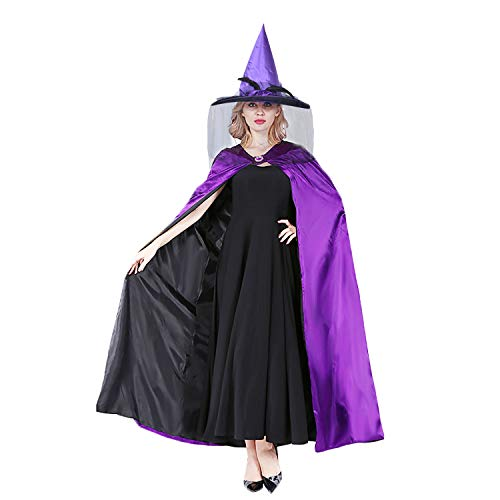 Witch Cape, Coxeer Wicked Wiches Cape Steampunk Cape Halloween Costumes for Women and Men (Purple)