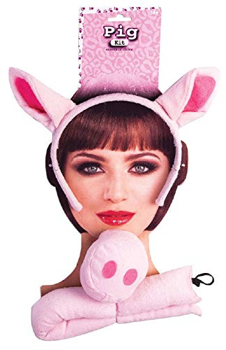 Forum Novelties 76845 Party Supplies Pig Ears, Nose and Tail Set, One Size, Pink