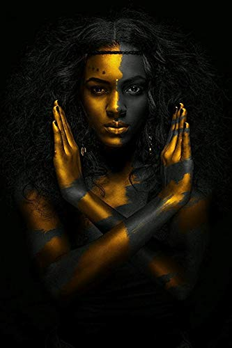 Huanlovely Black and Gold African Nude Woman Indian Oil Painting on Canvas Posters and Prints Scandinavian Wall Art Picture for Living ()