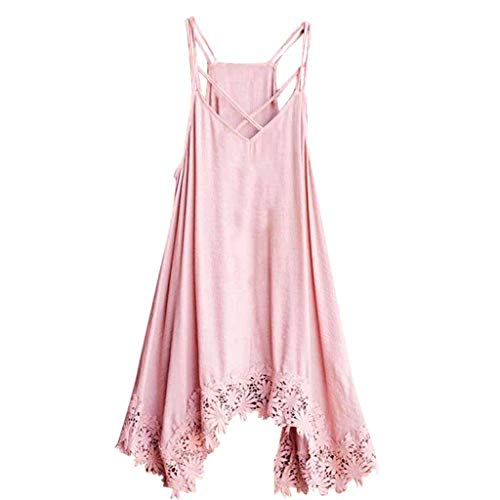 (LYNStar✔Women's Solid Color Sexy Off-Shoulder Sling Lace Trim Irregular Hem Dress Loose Blouse Top Spaghetti Strap Shirt Pink)