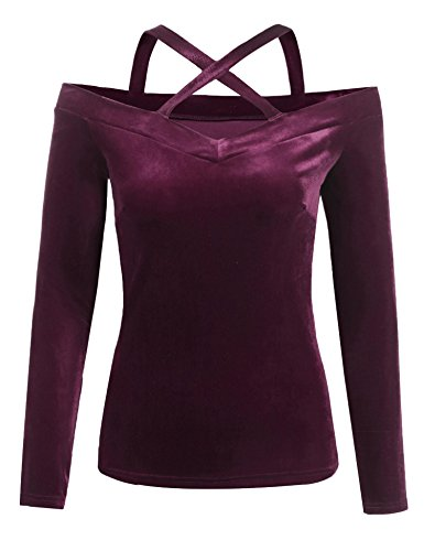 Grabsa Womens Velvet Off The Shoulder Tops Long Sleeve V Neck Sexy Blouse Shirts -