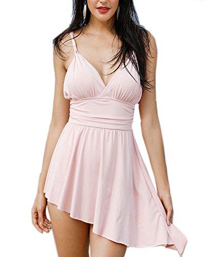 Aox Women's Fashion Pink One Pieces Spaghetti Strap Swimsuits High Waist Slim Ruffle Padded Swim Dress Summer Beach Bikinis Bathing Suit (XL, Pink) (Dress Ruffle Swim)