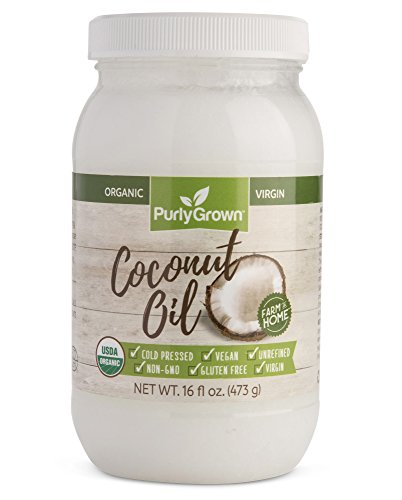 Organic, Cold Pressed Coconut Oil - Extra Virgin, Unrefined, Non-GMO Coconut Oils for Healthy Cooking, Beauty, Moisturizing, Dry Skin and Hair Care for Adults and Babies, 16 Oz. by Purly Grown