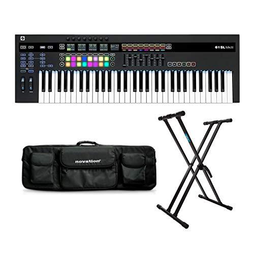 Novation 61SL MkIII MIDI Keyboard Controller Bundle with Novation Black Shoulder Bag Carry Case and Knox Gear Stand (3 Items)