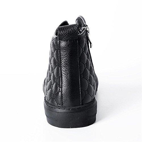 Scarpe Tempo Uomini Autunno Stile Britannico libero Piatto Cerniera Nero Vero Black All'aperto Stivali alto Pelle Inverno SAqCw5