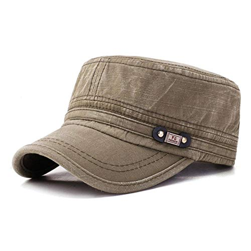 Mens Flat Top Caps Vintage Washed Cotton Adjustable Outdoor Sunscreen Peaked Dad Cap (Army Green)