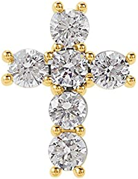 Diamond Cross Pendant, 14k Yellow Gold (Color G-H, Clarity I1)