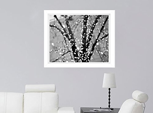 Black and White Light Abstract Art Photography, Lighted Tree Branches Art Print, Sparkling Lights, Modern Wall Decor Picture 5x7, 8x10, 11x14, 12x16,12x18, 16x20 by Natural Photography Spa