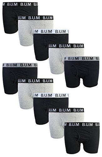 B.U.M. Equipment Boys 10 Pack Solid Boxer Briefs Underwear, Black/Grey, ()