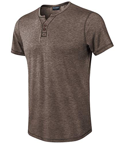 Moomphya Men's Jacquard Knitted Casual Short Sleeve V-Neck Henley T-Shirts (Brown, - Henley Sport