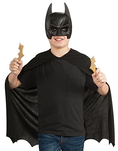 Black Batman Costumes Child (Batman: The Dark Knight Rises: Batman Child's Costume Set with Mask, Cape and Batarangs (Black))