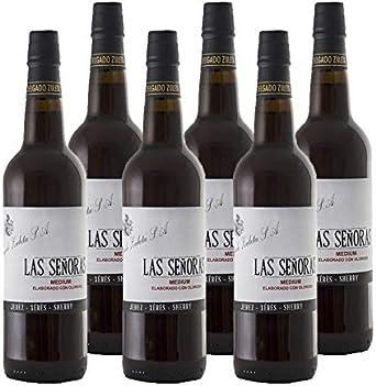 Vino Medium Las Señoras de 75 cl - D.O. Jerez - Bodegas Delgado Zuleta (Pack de 6 botellas): Amazon.es: Alimentación y bebidas