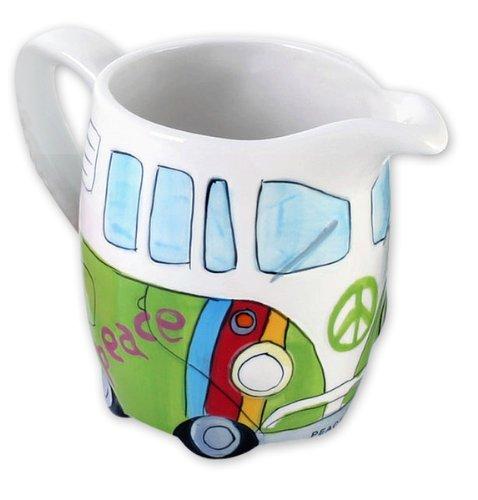 Bus Cookie Jar (Volkswagen Merchandise - VW Camper Van / Bus - Ceramic Milk / Cream Jug / Dispenser (Hippie Style))