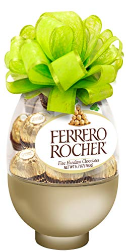 Ferrero Rocher Fine Hazelnut Milk Chocolate, 13 Count Easter Egg, Chocolate Candy Gift Box, Easter Basket Stuffers
