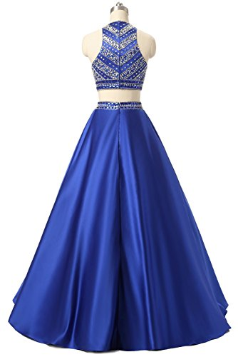 Sequined Dresses Two Prom Satin Himoda Evening Women's Long Beaded Royal Blue Pieces Gowns H052 0Anawq