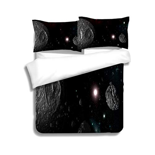 MTSJTliangwan Family Bed Planets and Galaxy Science Fiction Wallpaper Beauty of deep Space 3 Piece Bedding Set with Pillow Shams, Queen/Full, Dark Orange White Teal Coral (Beauty Chipboard)