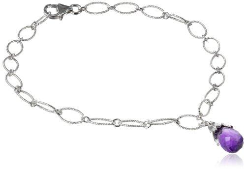 Sterling Silver African Amethyst Briolette Charm Bracelet, (Sterling Silver African Amethyst Bracelet)