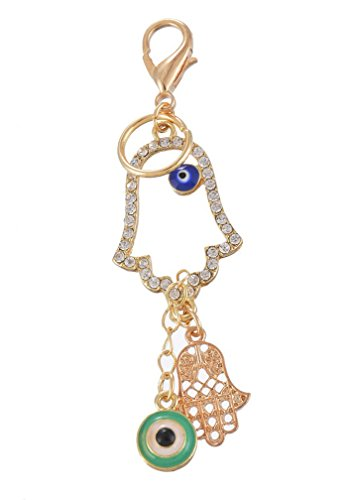 MJartoria Rhinestone Pave Filigree Hamsa Hand Evil Eye Pendant Key Chain Ring with Lobster Clasp ()