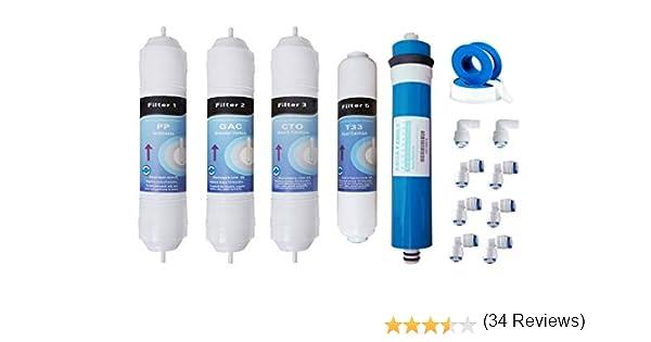 Kit OFERTA membrana + 4 filtros osmosis inversa compacta: Amazon ...