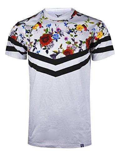 (SCREENSHOTBRAND-S11858 Mens Hipster Hip-Hop Premium Tees - Stylish Longline Fashion Jersey T-Shirt Flower Print Detailed-White-Medium)