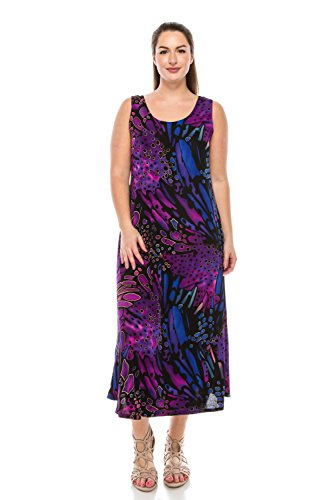 Jostar Women's Stretchy Tank Long Dress Sleeveless Plus Print 2XL Purple Abstract ()