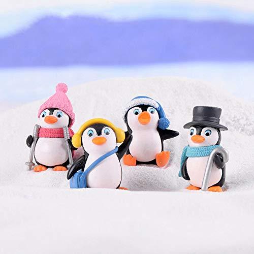 Garden Penguin - JeM 4pcs Cute Landscape Penguin Ornament, Penguin Garden Décor Figurine, Mini Figure Collection Playset, Penguin Cake Topper