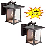 Hardware House 21-2127 One Light Outdoor Wall Mount - 2 Per Pack, Black Finish with Clear Glass