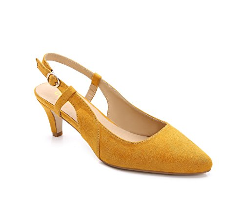 ComeShun Womens Yellow Sexy Kitten Classic Slip On Pumps Splicing Suede Shoes Size 7 Slingback Pump Shoes