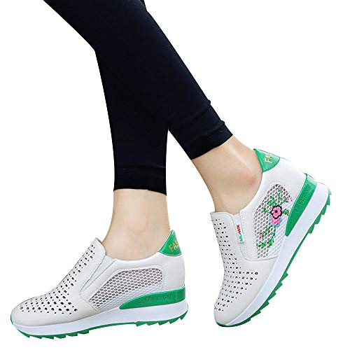 Mesh Breathable Inner Increase Casual Student Sports Embroidered Shoes Fitfulvan(Green,6.5)