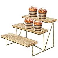 MyGift 3-Tier Wood & Brass Cupcake Dessert Display Riser