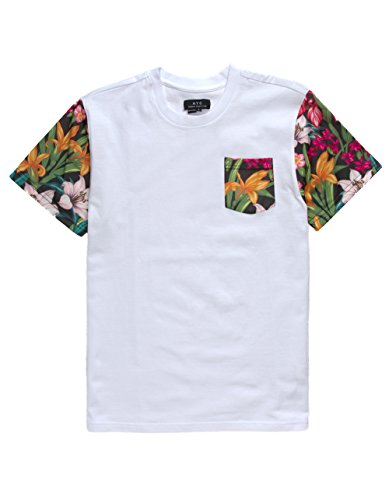 Asphalt Yacht Club Flower Blitz Boys Pocket Tee, White, Medium