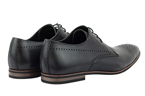 Xposed - Zapatos de cordones de piel sintética para hombre Tan-Black DPW0L3g