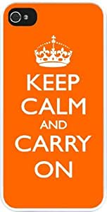 Rikki KnightTM Keep Calm and Carry On - Orange Design iPhone 4 & 4s Case Cover (White Rubber with bumper protection) for Apple iPhone 4 & 4s